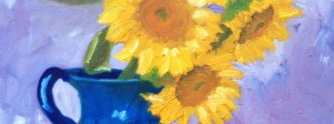 Sunflowers - Ellen Van Treuren - oil painting - still life