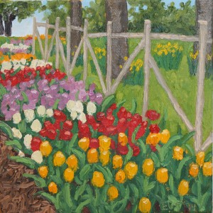 Ellen Van Treuren - mini painting - oil on canvas - tulips - Dallas Arboretum