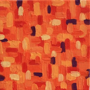 Ellen Van Treuren - cute little mini - orange abstract painting